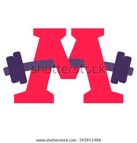 M letter with barbell. Vector design template elements for your application or corporate identity.