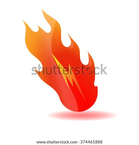 m letter with red fire flames