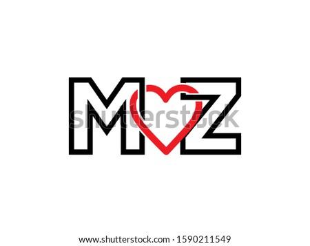 M love Z letter logo or symbol template design Stock fotó ©