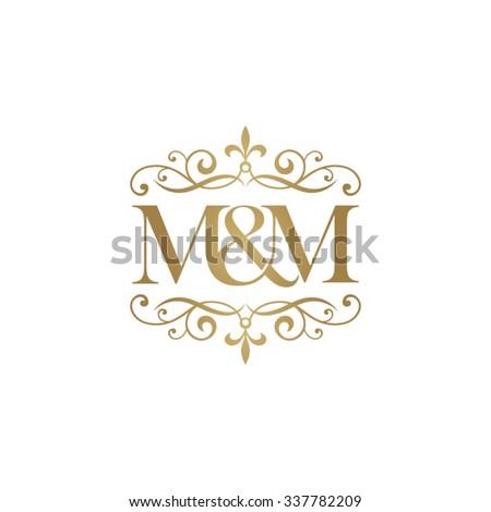 m m initial logo ornament