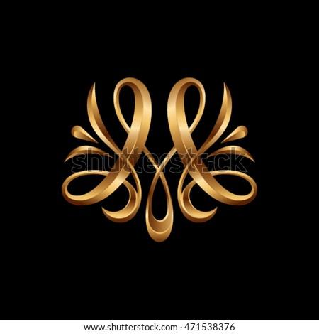 m   monogram letter