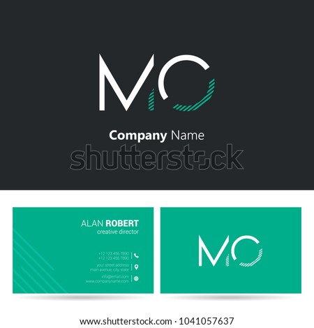 M & O joint logo stroke letter design with business card template Foto stock ©