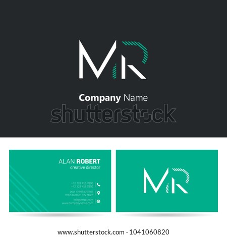 M & R joint logo stroke letter design with business card template Stock fotó ©