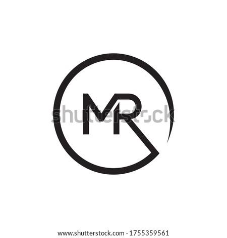 M R letter on circle lines design concept Stock fotó ©