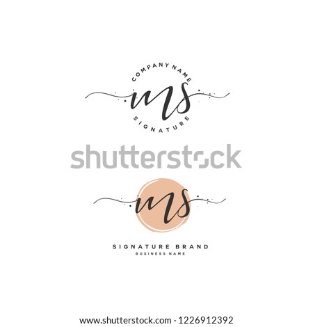 M S MS Initial letter handwriting and  signature logo.