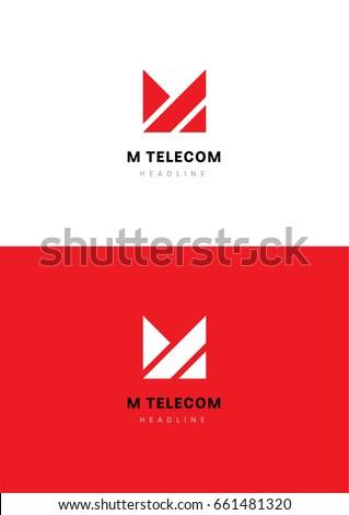 M telecom logo template. Zdjęcia stock ©