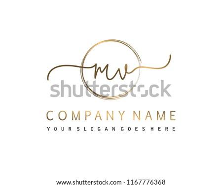 M V Initial handwriting logo vector