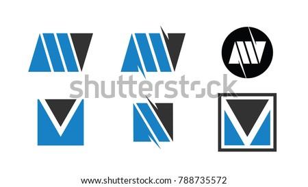 M V logo design template. Set of M V logo Icon Stock fotó ©