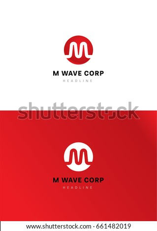 M wave corporation logo template. Zdjęcia stock ©