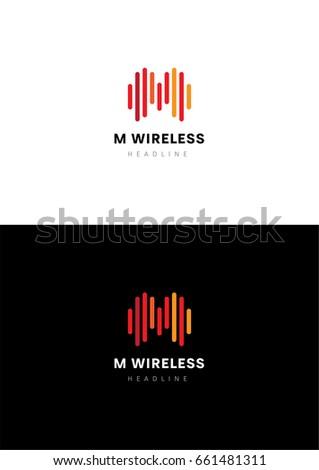 M Wireless logo template. Zdjęcia stock ©