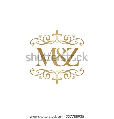 M&Z Initial logo. Ornament ampersand monogram golden logo Stock fotó ©