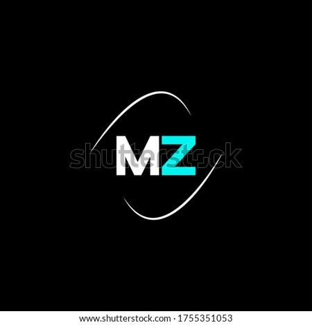 M Z letter logo emblem design Stock fotó ©