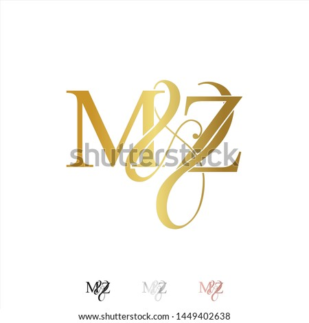 M & Z / MZ logo initial vector mark. Rose gold. gold. silver color. Stock fotó ©