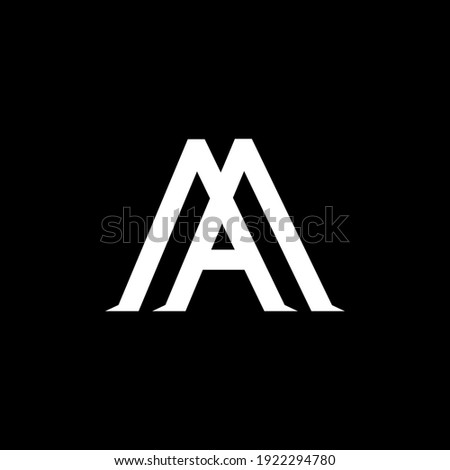 MA,AM letter logo design on luxury background. MA,AM monogram initials letter logo concept. AM,MA icon design. MA,AM elegant and Professional white color letter icon on black background. Stock fotó ©