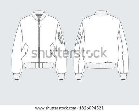ma-1 flight bomber jacket, front and back, drawing flat sketches with vector illustration by sweettears ストックフォト ©