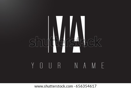 MA Letter Logo With Black and White Letters Negative Space Design.