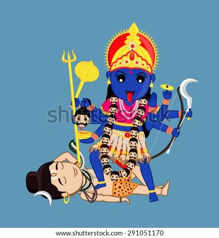 maa kali standing over lord
