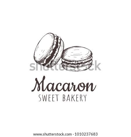 Macaron, macaroon, Macaron sketch hand drawing. Macaroon sweet bakery vector illustration.