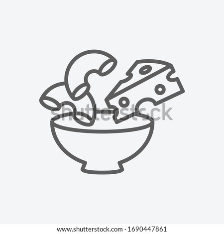 Macaroni with cheese icon line symbol. Isolated vector illustration of icon sign concept for your web site mobile app logo UI design. Stockfoto ©