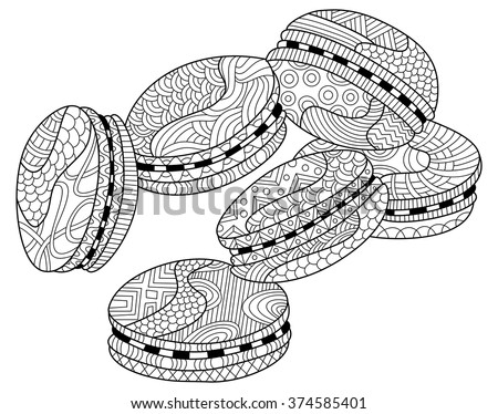 macarons zentangle coloring page