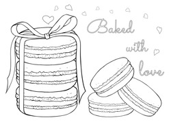 Macaroons tied with a ribbon on a white background with hearts. Valentine day. Sweet delicious dessert food. Isolated vector illustration. Hand drawn sketch. Separate objects. Coloring.