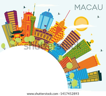 Macau China City Skyline with Color Buildings, Blue Sky and Copy Space. Vector Illustration. Business Travel and Tourism Concept with Modern Architecture. Macau Cityscape with Landmarks.