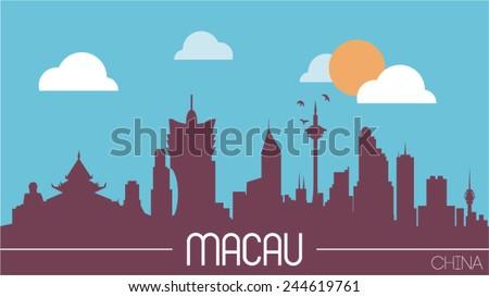 macau china skyline silhouette