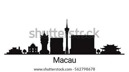 macau city outline skyline all