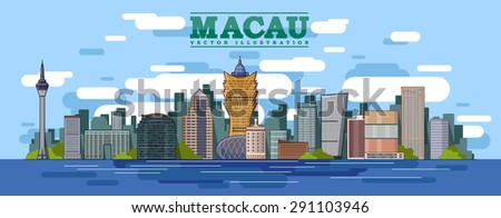 macau skyline in color
