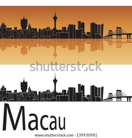macau skyline in orange