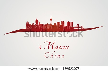 macau skyline in red and gray