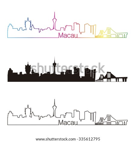 macau skyline linear style with
