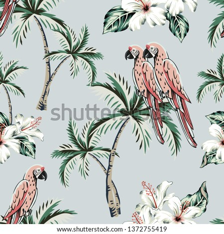Macaw parrots, palm trees, white hibiscus flowers, green leaves, gray background. Vector floral seamless pattern. Tropical illustration. Exotic plants, birds. Summer beach design. Paradise nature
