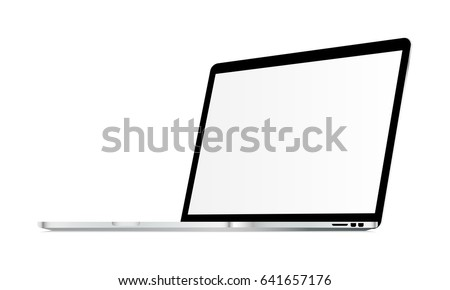 Macbook Pro mockup with blank screen isolated - 3/4 right view. Showcase your apps, websites, tools and other digital projects placed in realistic laptop. Vector illustration