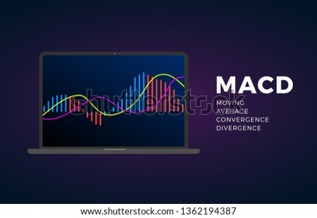 MACD indicator technical analysis. Vector stock and cryptocurrency exchange graph, forex analytics and trading market chart. Moving Average Convergence Divergence.