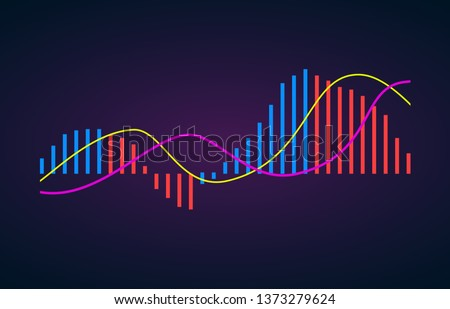 MACD indicator technical analysis. Vector stock and cryptocurrency exchange graph, forex analytics and trading market chart. Moving Average Convergence Divergence flat icon