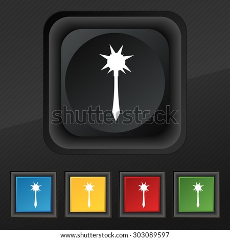 mace icon symbol set of five