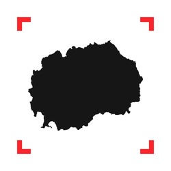 Macedonia map in a red viewfinder isolated on white background. Conceptual vector illustration, easy to edit.