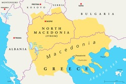 Macedonia region, political map. Region of the Balkan Peninsula in Southeast Europe. Part of Greece, North Macedonia, Bulgaria, Albania, Kosovo and Serbia. English labeling. Illustration. Vector.