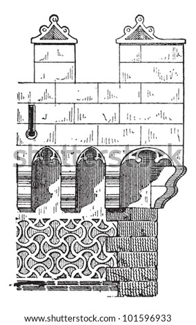 Machicolation on a Spanish Tower in Segovia, Spain, vintage engraved illustration. Dictionary of Words and Things - Larive and Fleury - 1895