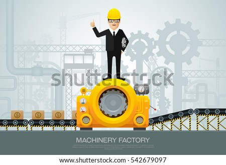 machine and manufacture, engineering vector illustration with engineer character