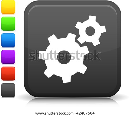 Machine Gear icon on square internet button  Six color options included.