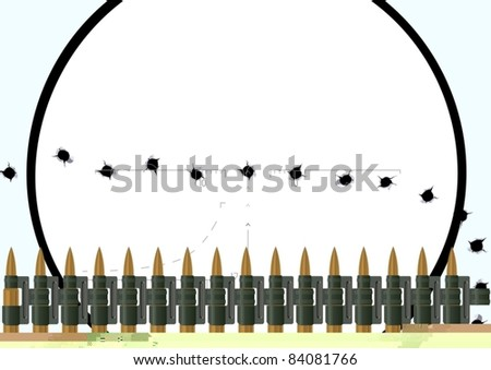 Machine-gun belt with bullets and bullet holes in the nets against a sniper scope. The illustration on white background.