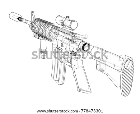 machine gun vector rendering