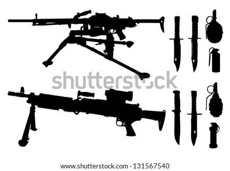 machine guns  knives  grenades