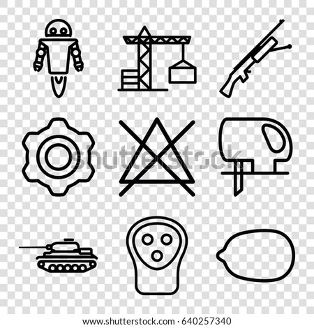 machine icons set set of 9