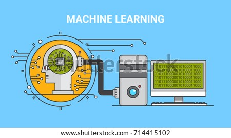 Machine learning, algorithm, artificial intelligence flat line vector banner with icons isolated on blue background