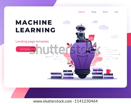 Machine learning algorithm concept with artificial neural network, deep learning. Robot with laptop sitting on big light bulb with stack of books and flowers. Vector ultra violet landing page
