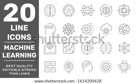 Machine learning and AI line icons. Set of artificial intelligence, IoT, automated system, big data analytics and more. Editable stroke. EPS 10