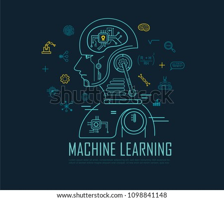 Machine learning banner, artificial intelligence, Machine learning and Deep learning flat line vector banner with icons on blue background.